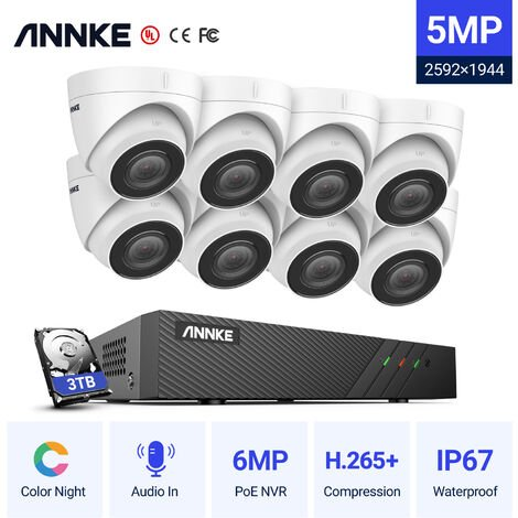 ANNKE 5MP PoE IP Security Camera System With ONVIF Turret Cameras 6MP 8CH NVR 100 ft Color Night Vision For Outdoor Indoor CCTV Surveillance Kits 8 Cameras – 3TB HDD
