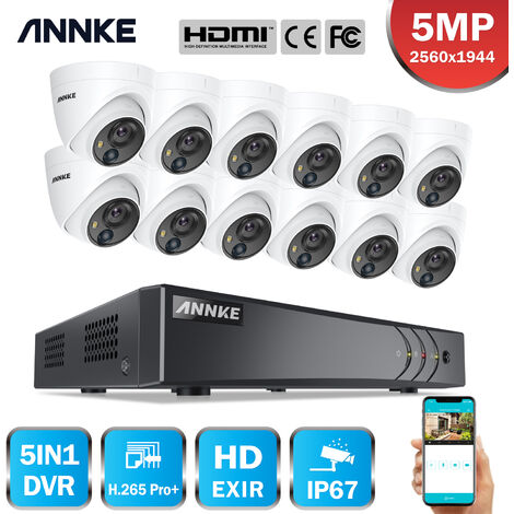 ANNKE 5MP Wired 16 Channel CCTV Security Camera System H.265 Pro DVR Surveillance Kits with 5MP PIR Outdoor IP67 Weatherproof Cameras For Home 12 Cameras - No HDD