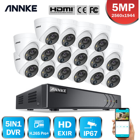 ANNKE 5MP Wired 16 Channel CCTV Security Camera System H.265 Pro DVR Surveillance Kits with 5MP PIR Outdoor IP67 Weatherproof Cameras For Home 16 Cameras - No HDD