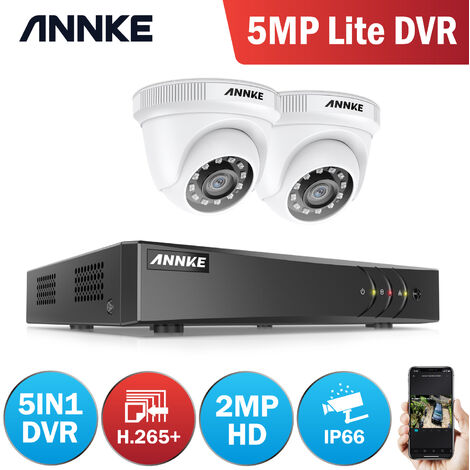 ANNKE 5MP 8CH CCTV DVR 2Pcs 2MP Home Security System Camera - NO Hard Drive Disk