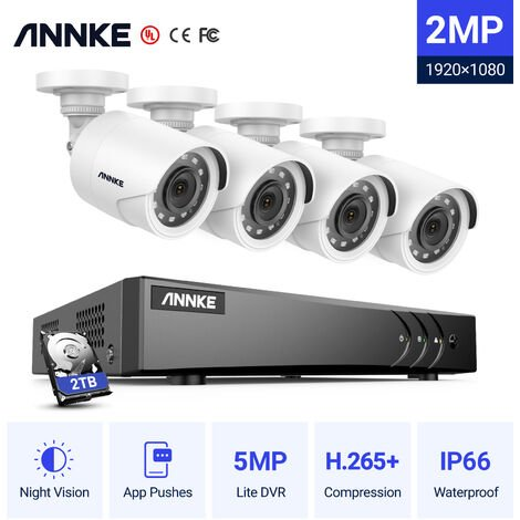 ANNKE 8CH 5MP CCTV DVR HD 1920*1080P Security Camera System 4Pcs 2.0Megapixel Outdoor IR-Cut Day Night Vision Bullet Camera - 2TB HDD