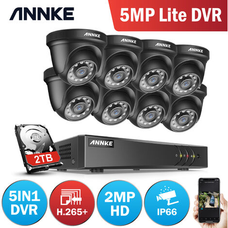 ANNKE 8CH 1080N Security System DVR 8Pcs 720P 1.0MP Weatherproof Home Security Camera - 2TB Hard Drive Disk