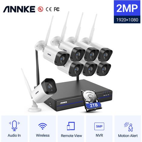 ANNKE 8CH NVR Wireless wifi 720P 1.0MP CCTV Security Camera System IR Night - 2TB Hard Drive Disk