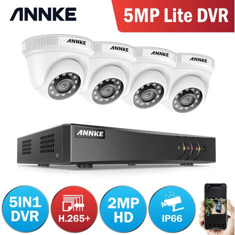 5MP HD Video Security 8 CH System with 4Pcs Dome camera - 0TB Hard Drive Disk