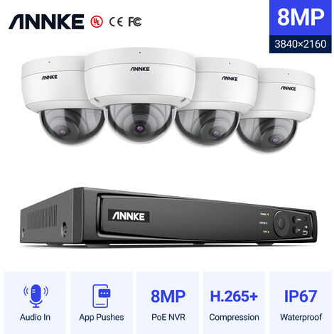 ANNKE Full 4K Power over Ethernet Security Camera System8MP 8CH NVRand4* 8MPHD IP CamerasWeatherproof with 100ft Night Vision – 0TB Hard Drive