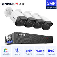ANNKE 5MP H.265+ 8CH HD PoE Network Video Security System 4pcs Waterproof Outdoor POE IP Cameras Plug & Play PoE Camera Kit ヨ 2TB