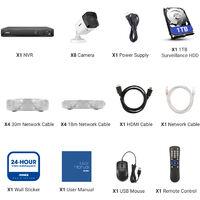 ANNKE 16CH POE CCTV Security Systems Network Super HD PoE 5MP 8 Camera ヨ 1TB