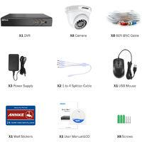 ANNKE 8CH 1080P Lite CCTV System 1080P DVR Kit 8pcs 2.0MP Outdoor Security Cameras System IR night Video Surveillance Kit ヨ No hard drive