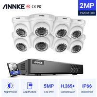 ANNKE 8CH 1080P Lite CCTV System 1080P DVR Kit 8pcs 2.0MP Outdoor Security Cameras System IR night Video Surveillance Kit ヨ 2T hard drive