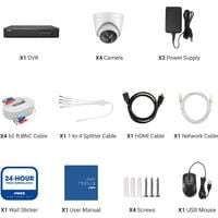 ANNKE H.265+ 5MP Ultra HD 4CH DVR CCTV Security System 4PCS IP67 Weaterproof Outdoor 5MP Camera Video Surveillance Kit - 0TB Hard Drive Included