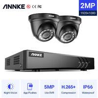 ANNKE 8CH 1080P Lite CCTV System 2pcs 2.0MP Outdoor Security Dome Cameras IR night Video Surveillance CCTV Kit - No hard drive