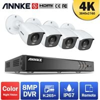 ANNKE 4K Ultra HD 8CH DVR Security Camera System with 4PCS Full Color Night Vision Home Outdoor Indoor CCTV Surveillance Kit with 0T Hard Drive