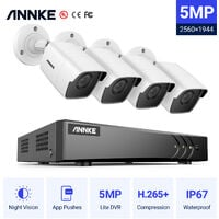ANNKE H.265+ 5MP Lite Ultra HD 8CH DVR CCTV Security System 4pcs Outdoor 5MP EXIR Night Vision Camera Video Surveillance Kit Without HDD