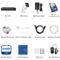 ANNKE H.265+ 5MP Lite Ultra HD 8CH DVR CCTV Security System 4pcs Outdoor 5MP EXIR Night Vision Camera Video Surveillance Kit With 1T HDD