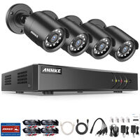 ANNKE 8CH 5MP CCTV DVR System+ 4x HD 2MP Outdoor Day Night Security Bullet Cameras - NO HDD