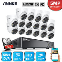 ANNKE 5MP Wired 16 Channel CCTV Security Camera System H.265 Pro DVR Surveillance Kits with 5MP PIR Outdoor IP67 Weatherproof Cameras For Home 16 Cameras – 3TB HDD