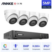 ANNKE 5MP PoE Security Camera System with ONVIF IP Turret Cameras 8CH 4K NVR Color Night Vision Mic for Outdoor Indoor CCTV Kits 4 Cameras - No HDD