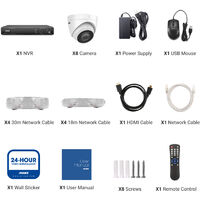 ANNKE 5MP PoE Security Camera System with ONVIF IP Turret Cameras 8CH 4K NVR Color Night Vision Mic for Outdoor Indoor CCTV Kits 8 Cameras - No HDD