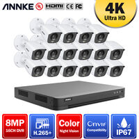 ANNKE 16 Channel 4K Wired Ultra HD DVR CCTV Security Camera System with 4K Color Night Vision ONVIF for Outdoor Indoor VideoSurveillance Kits 16 Cameras - No HDD