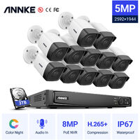 ANNKE 5MP PoE IP Security Camera System with ONVIF Bullet Cameras 16CH 4K NVR 100 ft Color Night Vision Mic for Outdoor Indoor CCTV Kits 12 Cameras – 3TB HDD