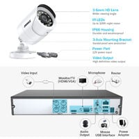 5MP HD Video Security 8 CH System with 4Pcs Bullet camera - 0TB Hard Drive Disk