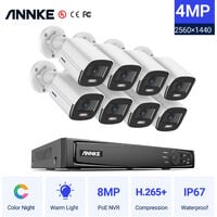 ANNKE 4.0MP True Power over Ethernet HD Security System 8PCS 8MP NVR with 1TB Dedicated Hard Drive and IP66 Weatherproof Cameras – NO Hard Drive