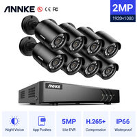ANNKE CCTV Camera Systems 8+2 Channel 5MP H.265+ DVR and 8*1080P FHD Weatherproof HD Bullet Cameras – No Hard Drive