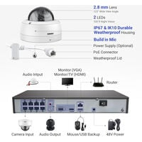 ANNKE Full 4K Power over Ethernet Security Camera System8MP 8CH NVRand8* 8MPHD IP CamerasWeatherproof with 100ft Night Vision – 0TB Hard Drive