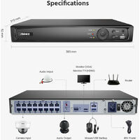 ANNKE Full 8MP Power over Ethernet Security Camera System8MP 16CH NVRand8* 8MPHD IP CamerasWeatherproof with 100ft Night Vision – No Hard Drive