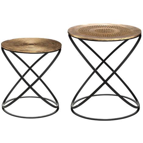 Atmosphera - Lot de 2 Tables d'appoint pied en métal et plateau en Bois déco Ethnique