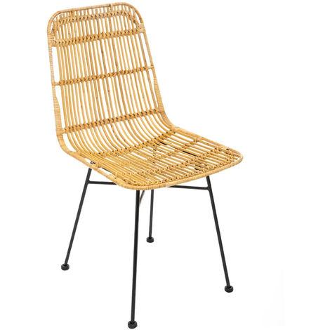 Atmosphera - Chaise en Rotin naturel et Pieds en métal noir