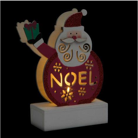 Feeric Christmas - Décoration de Noël Personnage Lumineux en bois à poser H 13 cm