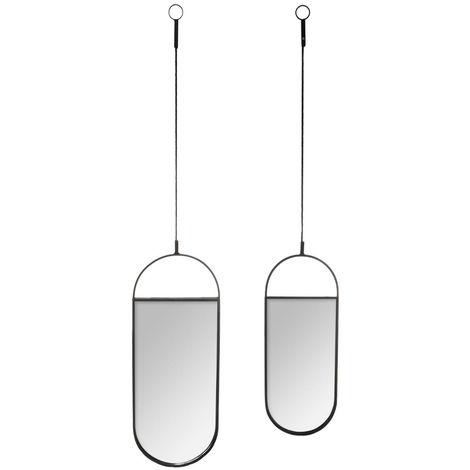 Atmosphera - Lot de 2 Miroirs suspendus en Métal Noir