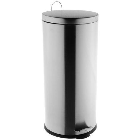 Five - Poubelle 30 litres en Inox brossé ouverture à pédale