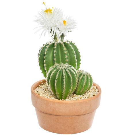Atmosphera - Plante artificielle Cactus fleuri dans son pot en terre cuite H 37 cm