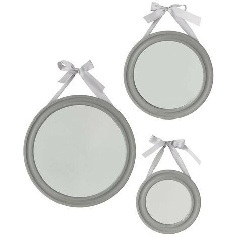 Atmosphera - Lot de 3 Miroirs à suspendre en Bois avec Ruban