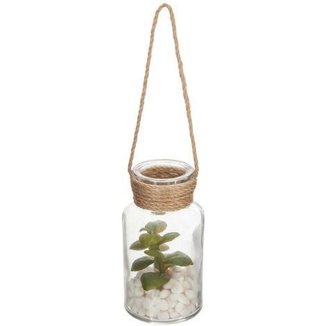Atmosphera - Plante artificielle dans Vase en verre H 12 cm