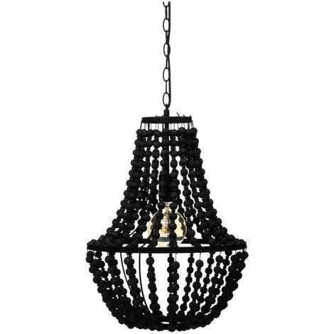 Atmosphera - Luminaire Suspension Perles noires en Bois H 53 cm