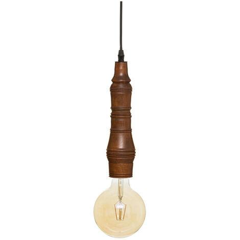 Atmosphera - Luminaire Suspension en Bois Marron H 30 cm