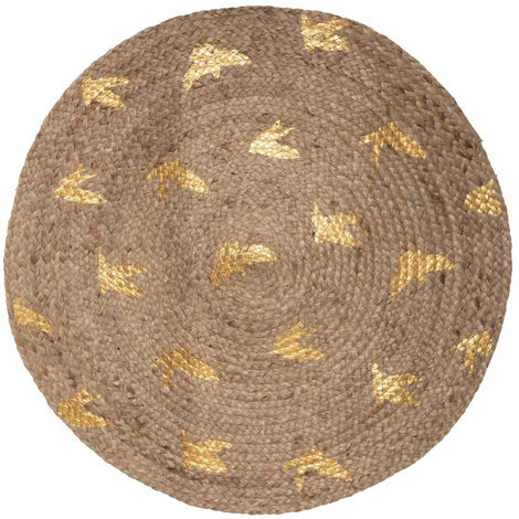 Atmosphera - Tapis décoratif rond en Jute tressé feuilles or imprimées D 80 cm Chambre d'enfant