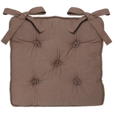 Atmosphera - Galette de chaise taupe 5 boutons 40x40