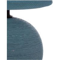 Atmosphera - Lampe en Céramique Pied Boule striée Bleue H 24.5 cm