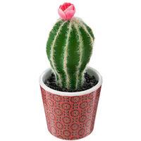 Atmosphera - Plante artificielle Cactus dans son pot H 18 cm