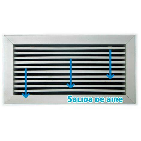 Rejilla lineal inclinación 0º plata para aire acondicionado 200x75mm