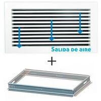 Rejilla lineal inclinación 0º blanca para aire acondicionado + marco de montaje 200x75mm