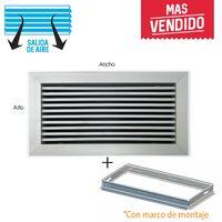 Rejilla lineal inclinación 0º plata para aire acondicionado + marco de montaje 200x75mm