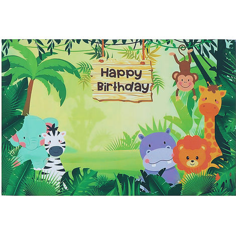 Animal Jungle Safari Photography Backdrop D & ¨¦Cor De F & Ê?Te D & # 39;?Birthday 150X100Cm