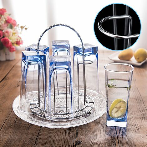 New 6 Cup Stainless Steel Glass Drip Rack Holder