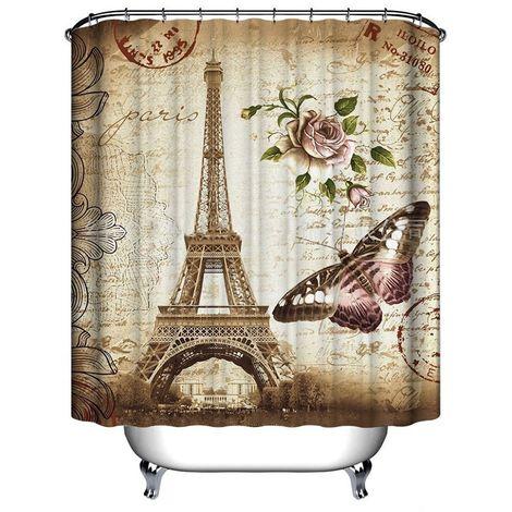 Waterproof Eiffel Tower Shower Curtain + 12 Hooks 180x200cm