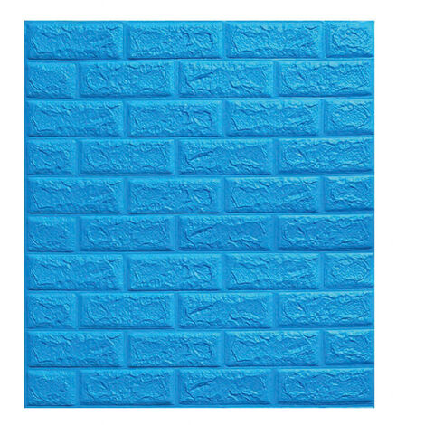 Large 3D Tile Brick Wall Sticker Self-adhesive Waterproof Foam Panel Wallpaper(Blue)